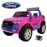 Babycar Coche para niños Ford Ranger Wildtrak Luxury (rosa) potenciado 4x4 LCD con mando a distancia asientos de piel y ruedas de goma