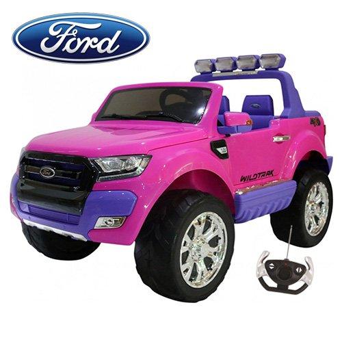 Babycar - Coche para niños Ford Ranger Wildtrak Luxury (Rosa) 12 V 10 Ah potenciada 4 x 4 LCD con Mando a Distancia Asientos de Piel y Ruedas de Goma