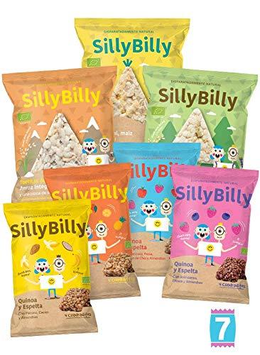 SillyBilly Pack Degustación Mixto - Snacks ecológicos - 4 bolsas de cuadraditos de espelta, quinoa y fruta + 3 bolsas de 30g de tortitas de arroz integral. (Pack 7 bolsitas)