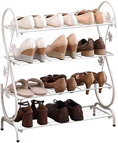 ZAIHW 4 Niveles 12 Pares Metal Completo Bronce en Forma de S Zapatero Organizador de Zapatos Estante Soporte de sujeción Taburete para Cambiar Zapatos (Color: Blanco)