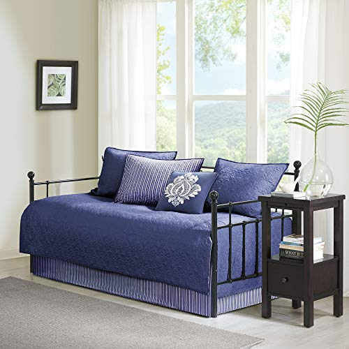 Madison Park Cotton Daybed Cover Set-Double Sided Quilting Classic Cottage Design All Season Bedding with Bedskirt, Matching Shams, Decorative Pillow, 75'x39', Quebec Navy 6 Piece