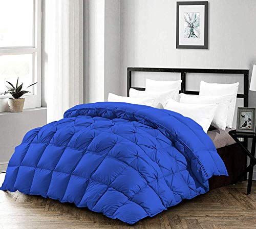 Best Bedding 3 Half Piece Pinch Pleated Comforter Set Premium 1000 Thread Count 100% Egyptian Cotton Super Soft (King/California King Size Royal Blue Color)