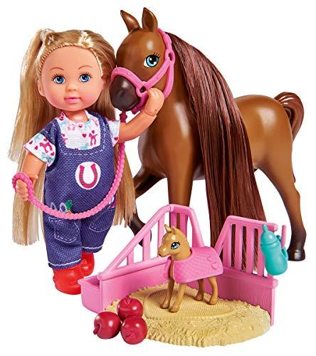 Simba 105733487 - Evi Love Doktor Evi Pferdemama / Evi als Tierärztin / mit trächtigem Pferd und Fohlen / mit Schlafplatz und Zubehör / Ankleidepuppe / 12cm, für Kinder ab 3 Jahren