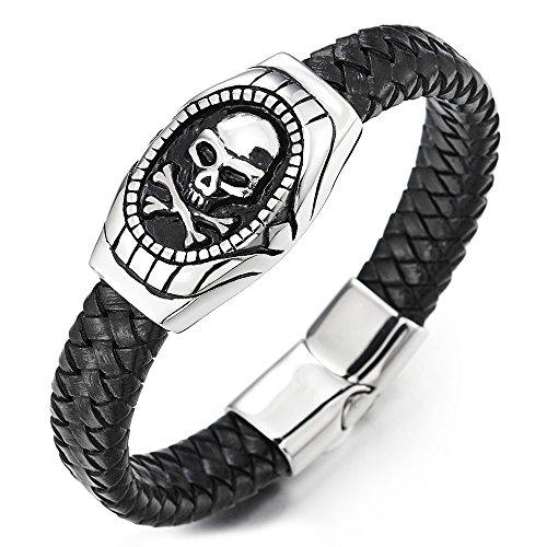 COOLSTEELANDBEYOND Herren Biker Geflochtenes Leder Armband, Piraten Schädel ID Identifikations Armband aus Edelstahl