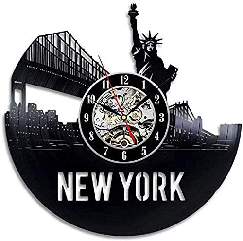 NC83 Vinyl Wall Clock ChristmasVintage Vinyl Record Wall Clock Modern Design New York City Statue of Liberty 3D Decoration Hanging Clocks Wall Clock Home Decor 12 inches(With LDE)