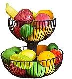 Xiaokang Sala de Estar Bandeja de Fruta de Dos Capas Cesta de Frutas de Dos Capas Fruta de Fruta de la casa de Gran Capacidad de Almacenamiento de Gran Capacidad de Fruta secada Fruta Maceta