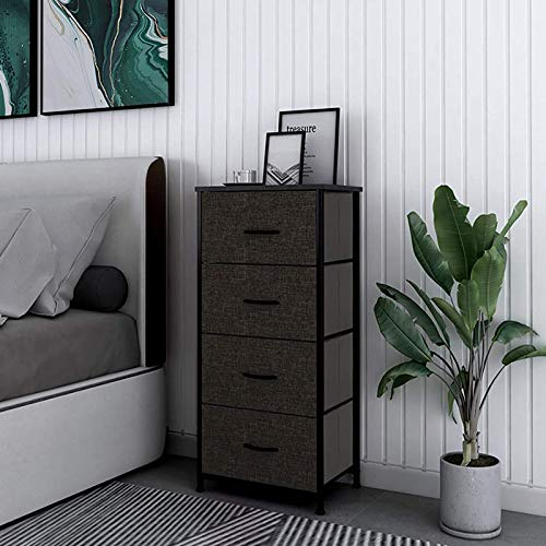 4 Drawers Dresser - Tall Storage Tower Unit Organizer for Bedroom, College Dorm, Closets, Hallway - Chest Drawer for Clothes, Steel Frame, Wood Top & Handle, Easy Pull Fabric Bins - Dark Grey/Black