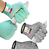 EvridWear 2 Colors 2 Pairs Level 5 Cut Resistant Gloves with Strong Silicone Grip Dots Kitchen Meat cutting Fish Fillet Shucking and Mandolin Slicing Free E-book(M, Green + Gray)