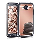 kwmobile Funda Compatible con Samsung Galaxy J5 (2015) - Carcasa Protectora Trasera de TPU para móvil en Oro Rosa con Efecto Espejo