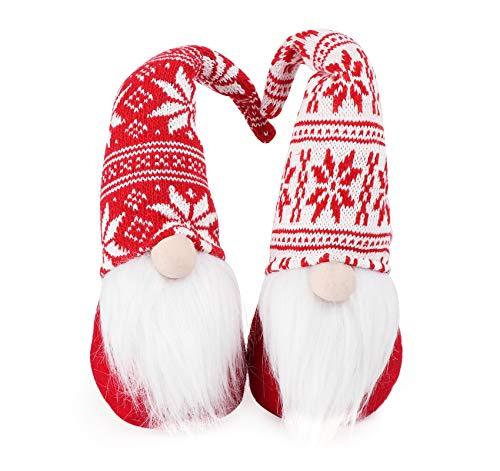 ABSOFINE Christmas Gnomes Handmade Swedish Tomte Gnome Plush 12'' Xmas Table Decorations Scandinavian Santa Elf for Christmas Holiday Home Decor Gift, Snowflake