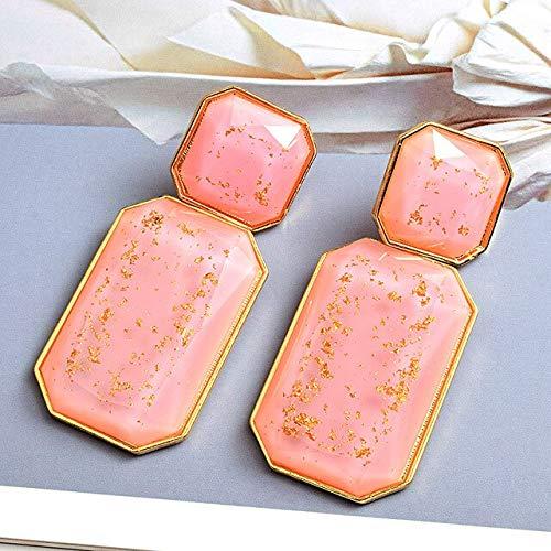 Fashion Trend Long Resin Drop Earrings Hanging Elegant Geometric Dangle Earrings Fine Jewelry Accessories For Women Pink-1