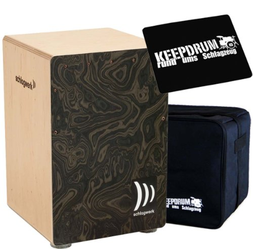 Schlagwerk CP 4006 Cajon la Peru Night Burl + keepdrum Gig Bag + CP-01 Pad