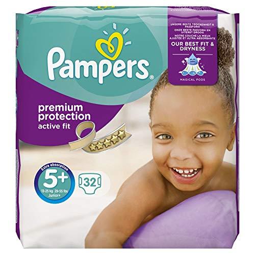 Pampers Premium Protection Active Fit Taglia 5Plus (Junior Plus) 13–25kg Value Pack, 32pannolini, 1er Pack (1X 32pezzi)