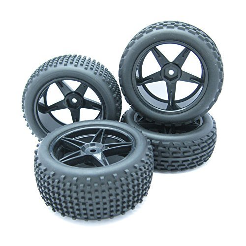 Pxyelec 1/10 Scale Off Road RC Buggy Front Wheels and Tyres x4 Black 5...