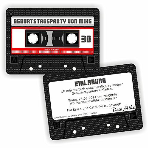 Einladung Geburtstag TAPE Kassette Tonband l Einladungskarten Retro (20 Stück)