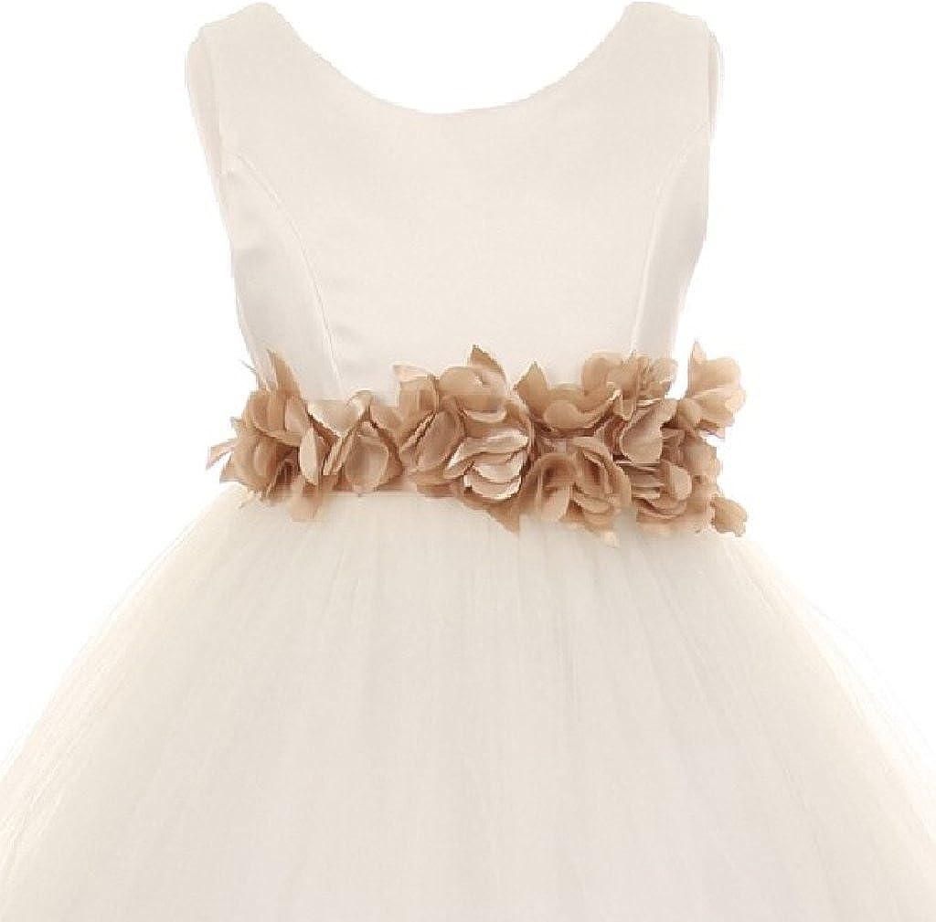 Little Girls White Elegant Satin Tulle Ribbon Sash Flowers Girls Dresses