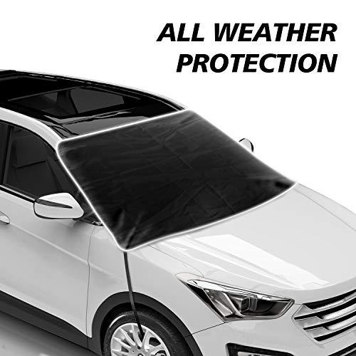 JASVIC Parasol para Parabrisas de Coche, Parasol para Ventana Delantera de Coche, Bloque UV, Protector de Visera con Bordes magnéticos y Ganchos para la mayoría de Coches y SUV (200 x 120 cm)