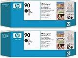 (lote de 2) OEM los negro cabezal de impresión y limpiador de cabezal HP 90, P/N: C5054A