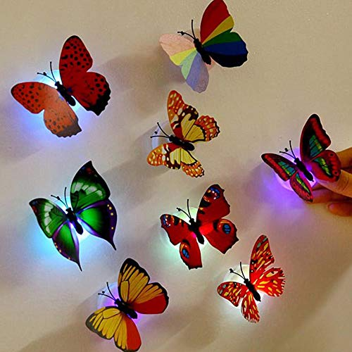 3D Light Up Butterfly Wall Stickers,GFEU 10PCS Colorful Fairy Flashing Adhesive Glowing Lights Decoration for Kids Bedroom Home Party