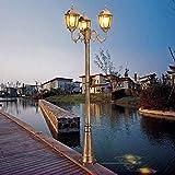 Luz, 3 Luces Lámpara de Columna de Linterna de Vidrio Retro Farola de Aluminio Antiguo Jardín Césped Parque Patio Decoración Pilar Villa Parque Lámpara de pie Impermeable al Aire Libre
