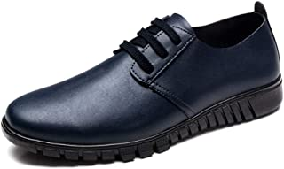 XinQuan Wang Men's Business Oxford Casual Leather Spring and Autumn Hollow Style Formal Shoes (Color : Blue, Size : 10 UK)