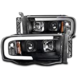 ZMAUTOPARTS For 2002-2005 Dodge Ram 1500/2003-2005 2500/3500 LED DRL Black Projector Headlights...