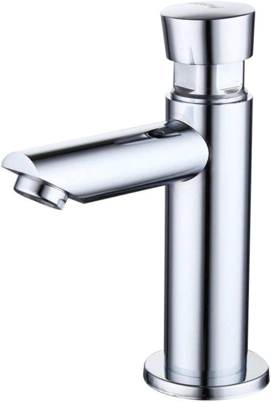 Faucet household copper single cold pressing basin faucet wash basin delay valve wash basin