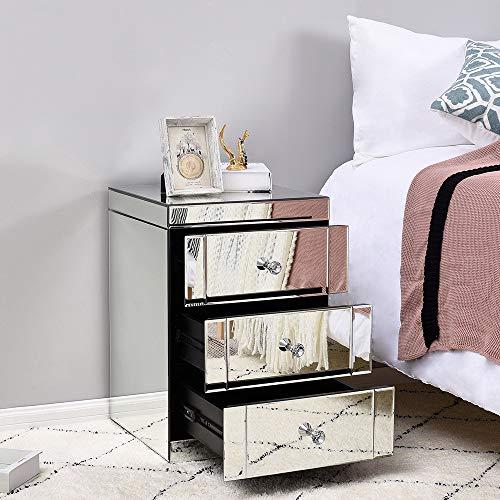 Panana Table de Chevet Miroir en Verre Meuble de Rangement avec 3 Tiroirs sur Salon, Chambre, Bureau, 40 x 40 x 60 cm
