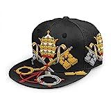 N A Emblem of Vaticano City Unisex 3D Impresión Classic Gorra De Béisbol Flat Snapback Bill Hip Hop Sombreros-Negro