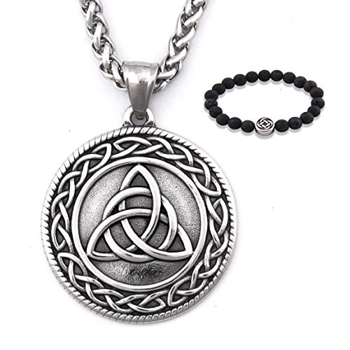 GUNGNEER Trinity Infinity Triquetra Celtic Knot Pendant Necklace Strength Gothic Stainless Steel Jewelry Men Women