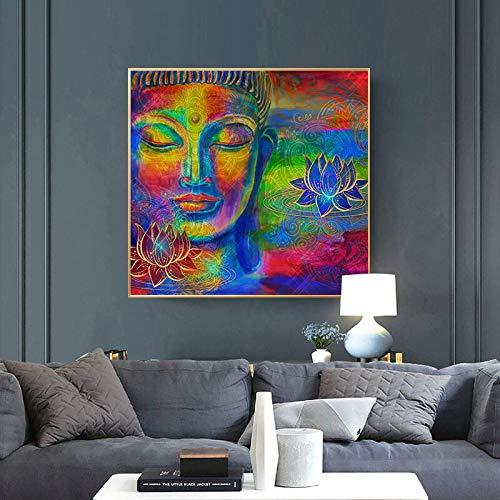 wZUN Imagen de Buda Colorida Abstracta Lienzo Arte Pintura Cartel y Arte Mural de Pared Imagen de Buda para Sala de Estar decoración del hogar 50x50 cm