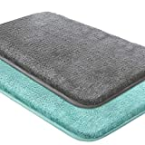 Nanrui 2pcs Alfombra de Baño Antideslizante, Alfombra de Baño Ultra Absorbente Puede Lavar a Máquina, Alfombra de Ducha de Microfibra Ultra Suave (50x80cm) (Verde & Gris Oscuro)