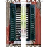 Cortinas de bloqueo de luz, casa de piedra italiana antigua con persianas de estilo medieval y flores de colores, 52 x L63 cortinas opacas para comedor, rojo, verde y gris