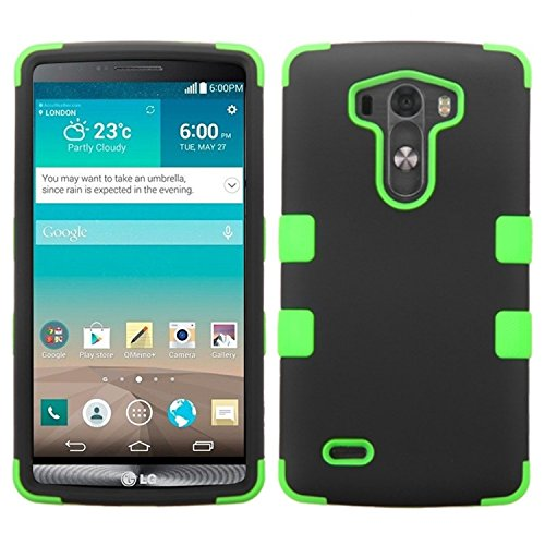 Asmyna Rubberized TUFF Hybrid Phone Protector Cover for LG G3 - Retail Packaging - Black/Electric Green