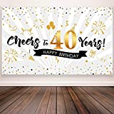 40th Birthday Party Decoration, Extra Large Fabric Black Gold Sign Poster for 40th Anniversary Photo Booth Backdrop Background Banner, 40th Birthday Party Supplies, 72.8 x 43.3 Inch (Style A)
