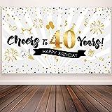 Blulu Decoración de Fiesta de 40 Cumpleaños, Tela Extra Grande Póster de Señal Dorado Negro para 40 Aniversario Fondo de Foto, Materiales de Fiesta de Cumpleaños, 72,8 x 43,3 Pulgadas (Estilo A)