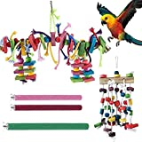 Seasonsky Bird Parrot Toys, 5 PCS Bird Perch Stand Toy Hanging Bell Pet Bird Cage Hammock Swing Toy Wooden Chewing Toy for Conures, Love Birds, Small Parakeets Cockatiels, Macaws