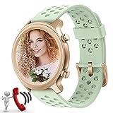 Fitness Smartwatch Mujer Responder Llamadas,1,28''Bluetooth Reloj Inteligente Mujer Redondo, Monitor de Sueño de Pasos Calorías Rastreador de Salud para Android Xiaomi iOS (Verde)