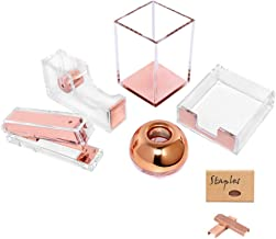 Acrylic Desktop Accessories Organizer Office Supplies Set Stationery, 8 in 1 Adhesive Tape Dispenser, Stapler Sticky Notes Case, Magnetic Paper Clips Holder, Pen Make-up Brushes Cup(Clear Rose Gold)
