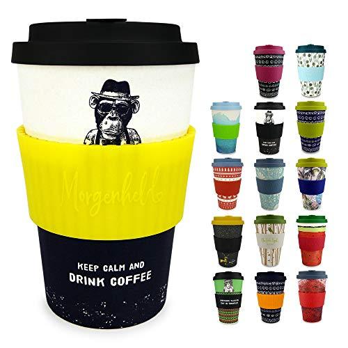 Morgenheld Dein trendiger Bambusbecher | Coffee-to-Go-Becher | Kaffeebecher mit Silikondeckel und Banderole in coolem Design, 400ml - Monkey Citron