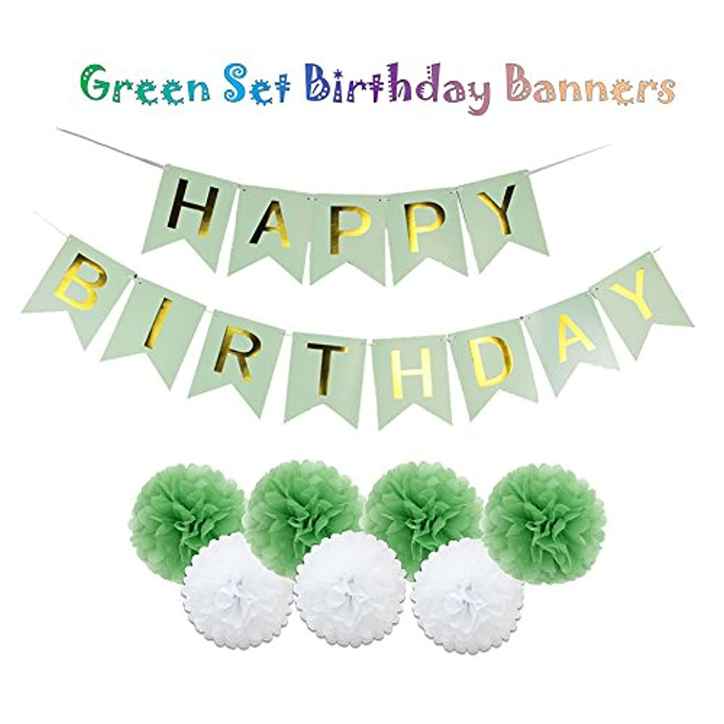 Sogorge Happy Birthday Decorations Banner With Tissue Pom Poms For Green Set Summer Birthday Party Supplies
