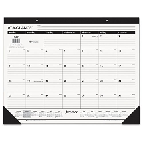 AAGSK2400-22 x 17 - at-A-Glance One-Color Monthly Desk Pad/Wall Calendar - Each