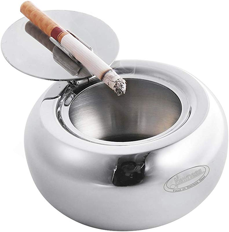 Ashtray Newness Stainless Steel Modern Tabletop Ashtray With Lid Cigarette Ashtray For Indoor Or Outdoor Use Ash Holder For Smokers Desktop Smoking Ash Tray For Home Office Decoration Silver