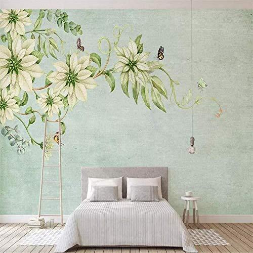 Vintage Blume Pflanze Fototapete Wandbild 3D Landschaft Benutzerdefinierte Tapete TV Hintergrund Wasserdichte Wandverkleidung Sofa Wanddekoration 350 * 245 Cm