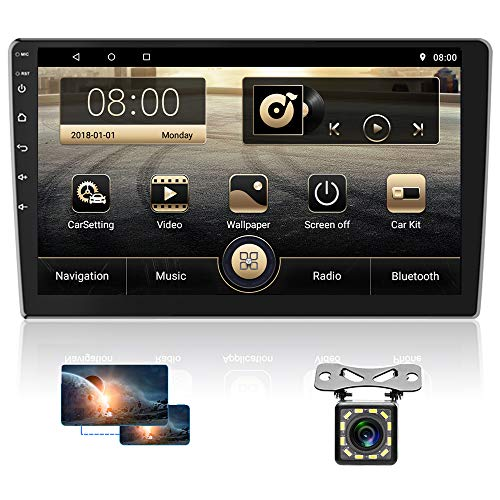 Hikity Android Autoradio 2 Din 10.1  Touchscreen Auto Stereo Sistema GPS Navigazione WIFI Bluetooth FM Display a Schermo Diviso Controllo del volante Collegamento a Specchio+Telecamera di retromarcia