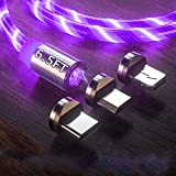 6.5ft 3 in 1 Magnetic Charging Cable LED Flowing Shining Purple Cord Light Up Candy Moving Party Streamer Absorption USB Compatible with Mirco USB Android, Type C Smartphone and iProduct Devices