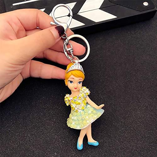 Llavero princesa llavero blanco nieve Belle Cenicienta Ariel Sirena Enredada Rapunzel Figura de Belleza Durmiente, Juguetes Fou Niñas Regalo llavero (Color: 3)