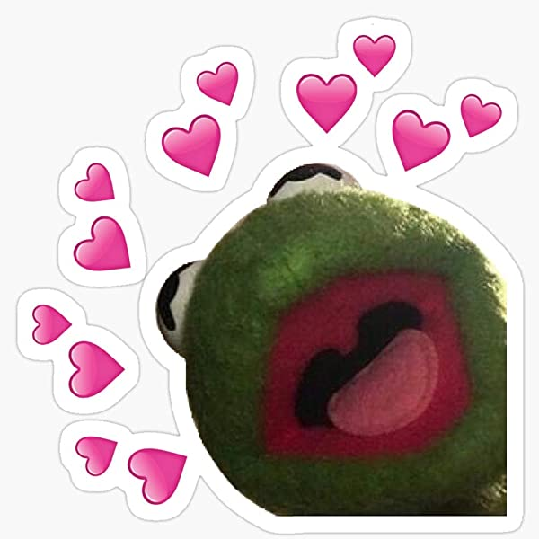 Kermit Heart Meme Stickers 3 Pcs Pack