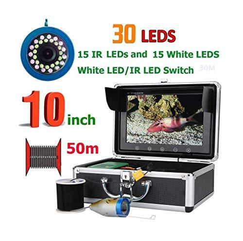 Ayanx Buscador de Peces de 10 'Pulgadas con Sensor, cámara de Pesca submarina de 50M, 15pcs LED Blancos + 15pcs Lámpara para rastreador de Actividad de Pesca en Hielo/mar/río