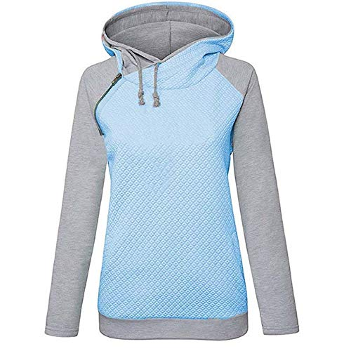 Sudaderas Jersey Sweater Sudadera con Capucha para Mujer Sudaderas con Capucha Sólidas Chaqueta Informal Suelta De Manga Larga 3XL Azul